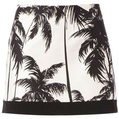 FAUSTO PUGLISI palm tree print miniskirt ($434) ❤ liked on Polyvore featuring skirts, mini skirts, bottoms, faldas, saias, short skirts, mini skirt, short white skirt, white mini skirt and white skirt
