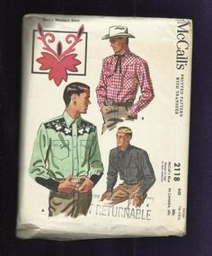 Scalloped Yokes - 1956 McCalls 2118 Western Shirts with Scalloped Yokes & Pocket Flaps Men's Size Large 42/44