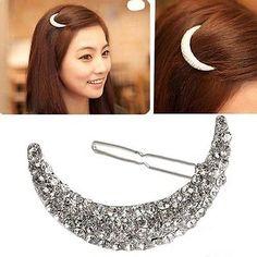 Womens Beautiful Moon Crystal Rhinestone Hair Clip Bang Clip Headdress Hairpin in Clothing, Shoes, Accessories, Women's Accessories, Hair Accessories   eBay