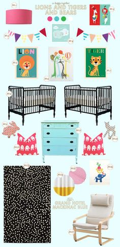 Don't need a room for twins, but the animal prints here are adorable!