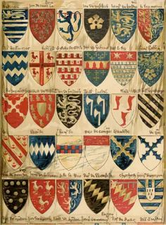 PLATE I PART OF A ROLL OF ARMS PAINTED IN ENGLAND AT THE BEGINNING OF THE 14th CENTURY. THE NAMES HAVE BEEN ADDED BY A SOMEWHAT LATER HAND AND ARE IN MANY CASES MISTAKEN AND MIS-SPELLED.  Drawn by William Gibb for the ENCYCLOPAEDIA BRITANNICA, ELEVENTH EDITION.