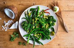 Broccoli & Edamame with Coconut Curry Leaves