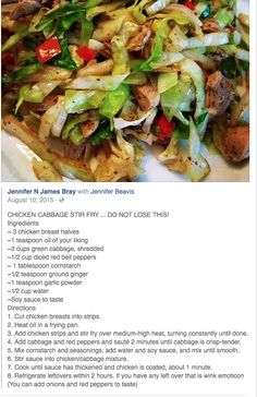Chicken Cabbage Stir Fry. Use coconut aminos for soy sauce. Try this with beef.