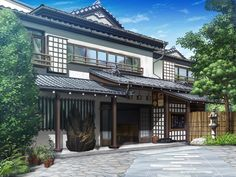 Exterior Makeover Two Story - Exterior Perspective Drawing - - Home Exterior Gray Game Background Art, Scenery Background, Landscape Background, Scenery Wallpaper, Animation Background, Background Pictures, Minecraft Japanese House, Casa Anime, Places