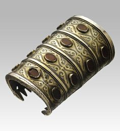 Bracelet from Central Asia(Turkmen)   Central Asia(Turkmen)  Gilded silver and cornelian  Late 19th century       Turkmen bracelets were par...
