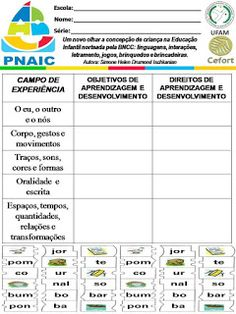 Atividades Escolares: VAMOS PLANEJAR: NOVA BNCC SEM COMPLICAÇÕES Education, Nova, Daycare Lesson Plans, Note Cards, Lets Go, Teaching, Onderwijs, Learning
