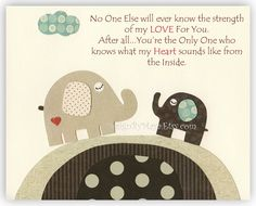 Baby boy room art, Nursery print, Baby elephant...No One...the strength of my LOVE For You.. on Etsy, $17.00
