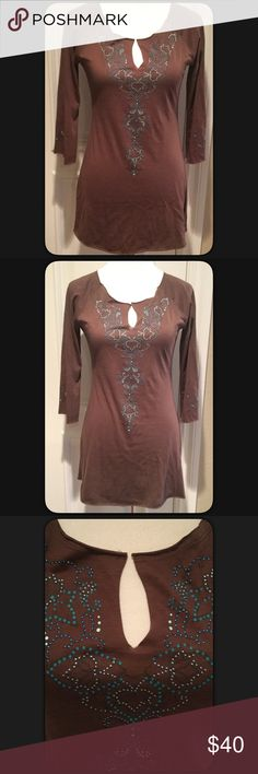 """🆕Lucy Tunic with beading detail Brown Raja tunic top by Lucy pretty beading detail on front, back and sleeves. Great top to wear rather you work out or wear going out. Measures approximately 29"""" long, armpit to armpit 16.5"""". Sleeves 3/4. Measurements taken while lying flat and not stretched. Material 100% Pima Cotton. Soft and comfortable. Great boho style. NWT. Size Small. Lucy Tops Tunics"""