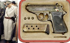 Hermann Goering handed over the Walther PPK pistol along with a ceremonial dagger to American soldier Jerome Shapiro to mark his surrender at the end of the Second World War. Pocket Pistol, Weapons Guns, German Army, American Soldiers, World War Ii, Firearms, Hand Guns, Two By Two, Special Forces