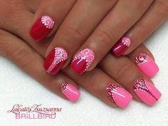 Pinkish red nail art design