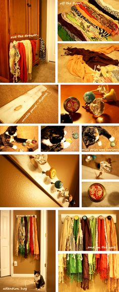 vintage or interesting knobs and a board becomes a scarf organizer and display