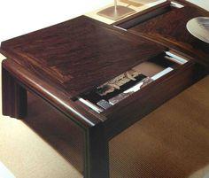 Tavolino contenitore realizzato in vetro con coperchio in legno ...