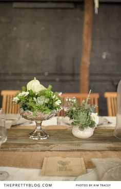Selection of fynbos & succulents in silver flower stand | Photography: Kim Tracey, Flowers: The Green Chameleon