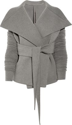 Rick Owens Lilies Belted Neoprene Jersey Jacket in Gray (anthracite) Mode Style, Style Me, Olivia Pope Style, Look 2015, Blazers, Sweater Jacket, Gray Jacket, Knit Jacket, Grey Sweater
