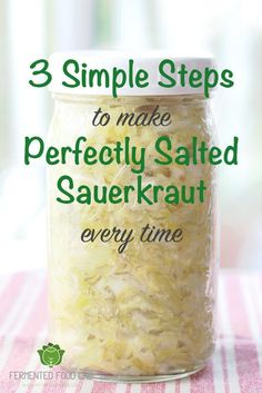 This is the recipe I like with 3 simple steps to make perfectly salted sauerkraut every time. Have your recipes been leaving you with super salty kraut? Here is my no-fail method. Fermented Sauerkraut, Homemade Sauerkraut, Sauerkraut Recipes, Cabbage Recipes, Fermented Foods, Recipe To Make Sauerkraut, Homemade Kraut Recipe, How To Make Saurkraut, Fermented Cabbage