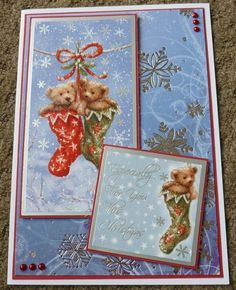 Handmade Card Hunkydory Christmas - using last years stash - Teddy Bears