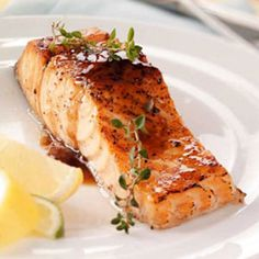 Maple Glazed Salmon Recipe -I have a few good recipes for family-favorite, heart-healthy salmon, but this one is always a hit. I serve it this way at least once a week and sometimes more! —David Krisko of Becker, Minnesota Baked Salmon Recipes, Fish Recipes, Seafood Recipes, Cooking Recipes, Cooking Rice, Cooking Games, Healthy Thanksgiving Recipes, Healthy Recipes, Maple Glazed Salmon