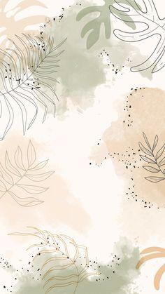 Beige leafy watercolor mobile phone wallpaper vector | premium image by rawpixel.com / Aum
