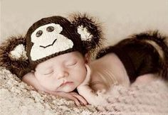 Monkey Brown Baby Photography Prop Outfit Hat Cap Jungle halloween costume Newborn Infant