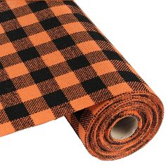 "Faux Burlap Check Fabric Roll 9.5"" x 10 yards Orange Black"