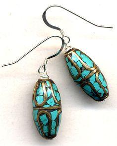Nepal Earrings Tibet Turquoise Earrings Nepal Beads by Annaart72, $30.00