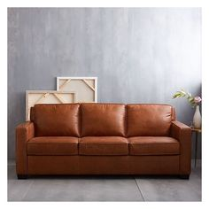 """West Elm Henry 76"""" Leather Sofa, Tobacco ($1,999) ❤ liked on Polyvore featuring home, furniture, sofas, brown, west elm couch, brown leather couch, west elm furniture, leather furniture and brown's furniture"""