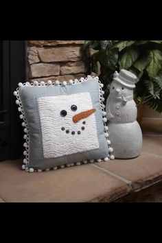 "APPLIQUE-EXISTING PILLOWS Snowman Pillow Project by Kristine Peterson. x Make this cute and cozy flannel pillow for a quick gift—or for yourself. Use pom-pom ""snowball"" trim for fun. Snowman Crafts, Christmas Projects, Holiday Crafts, Christmas Sewing, Christmas Snowman, Christmas Ornaments, Christmas Cushions, Christmas Pillow, Sewing Pillows"