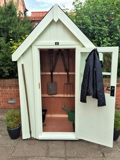 Posh Sheds Cosy Sheds Tool Tidy Stunning luxury ply lined garden sheds. Vertically clad with a traditional steep pitched roof Small Garden Tool Shed, Garden Sheds Uk, Garden Tool Storage, Backyard Sheds, Small Garden Design, Garden Tools, Garden Ideas, Backyard Patio, Shed Ideas Uk