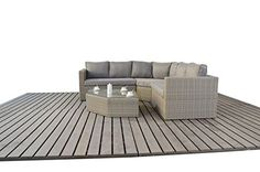 West Country Rattan Garden Angle Corner Sofa consists of two modular two seater sofas, angle corner sofa and a glass topped coffee table Outdoor Garden Furniture
