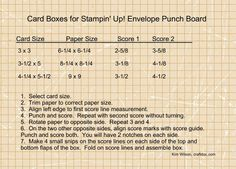 Box Chart - Envelope Punch Board