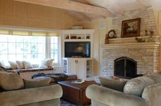 positioning furniture with a corner fireplace in living room - Google Search