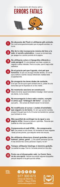 Els 13 manaments del disseny web o errors fatals.  #dissenyweb #infografia #error #humor #serveisweb #paginaweb #ecommerce #llista