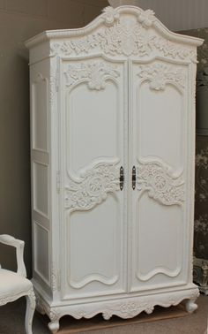 Forceful Shabby Chic French Glass Armoire/cabinet Armoires/wardrobes Reproduction Arms./wardrobes