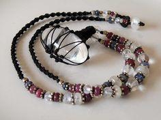 Crystal macrame necklace with Ruby Sapphire by ShambhalaJewelry