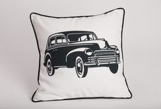 Vintage Chrysler Print Cushion (infill included) :  This cushion features a striking monochrome digital reproduction of a 1930s vintage Chrysler. It makes the perfect accent piece for your lounge, study or even amongst your modern decor.