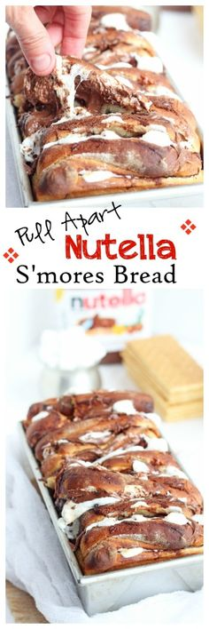 Pull Apart Nutella Smores Bread -- Sweet bread stuffed with marshmallows and Nutella, perfect for every party | carmelmoments.com