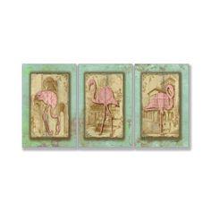 <li>Artist: Jean Plout</li> <li>Title: Vintage Pink Flamingo Trio</li> <li>Product type: Lithograph on MDF</li>