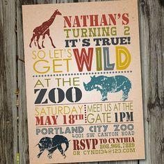Zoo ticket birthday party invitation by withlovegreetings on etsy born to be wild birthday party card google search stopboris Images