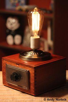 "Gentleman's ""Curiosity Box"" by Designer Andy Nortnik. Old World lighting with vintage shortwave radio control knob and dimmer. © Andy Nortnik http://steampunkartist.wix.com/steampunk"