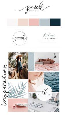 Peach Organizing brand & website launch! Web Design, Blog Design, Graphic Design, Website Design Inspiration, Inspiration Boards, Colour Schemes, Color Combos, Logo Concept, Flyer