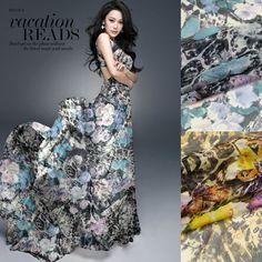 Hot Sell Leopard&Flower Print 100%Silk Chiffon Fabric For DIY Beach Dress/Scarf   135CM*100CM  6Mommie  2Colors