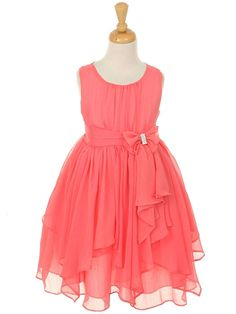 Coral Chiffon Knee Length Dress with Bow