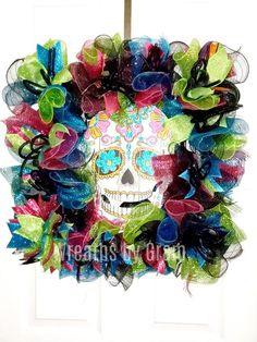 Halloween Wreath Sugar Skull Wreath Dia de Muertos Day of the Dead Gift for Halloween Door Decor Ske