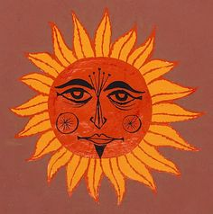 Kevin Kidney: Muse of the Weird and Wonderful -- Sun illustration by Rolly Crump, 1966 Sun Illustration, Good Day Sunshine, Sun Moon Stars, Sun Art, Hippie Art, Weird And Wonderful, Art Plastique, Face Art, Art Forms