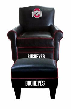 Ohio State OSU Buckeyes NCAA Game Time Chair & Ottoman/Footstool Furniture Set
