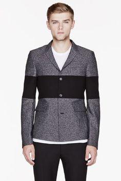 KRISVANASSCHE Mottled Grey Tweed Bold Stripe Blazer for men