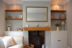Wonderful Free of Charge Fireplace Mantels with bookcases Suggestions Such a wonderful color palette and floating mantel! Are you looking for a floating mantel? Living Room Shelves, Home Fireplace, Alcove Ideas Living Room, Cosy Living Room, Snug Room, Living Room Color, Log Burner Living Room, Cottage Living Rooms, Victorian Living Room