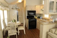 A Look at Park Model Homes - Mobile and Manufactured Home Living - DiMagio Tiny House Interior, Home, House Design, Home And Living, Park Model Homes, Mobile Home Living, Mobile Home Floor Plans, Model Homes, House Interior