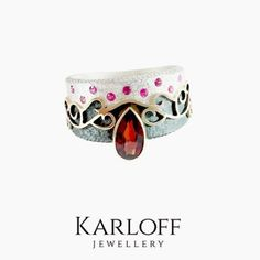 SILVER & GOLD RING With GARNET & RUBIES - product image