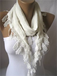 White Scarf with Trim Edge  White Scarf gift Ideas by MebaDesign